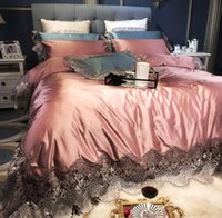 Bedding Sets Luxury European Style Pink Lace Embroidery 120S Set Pima Duvit Cover Bed Sheet Queen& King Size Of 4 Pieces