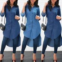 Long Fashion Women Denim Tuxedo Shirt Dress Sleeve Loose Blouse Lady Casual Jean Summer Tops Women's Blouses & Shirts