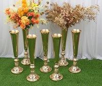 Elegante hochgroundfarbene polnische Vasen Hochzeitsdekoration Blumenvase Mittelstücke Große Mundform Metall für Zuhause