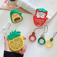 Cute Creative Fruits Design Cases For Airpod 1 and 2 Avocado Strawberry Protective Cover Designer Airpods Men Women Wireless Bluetooth Earphone Accessories