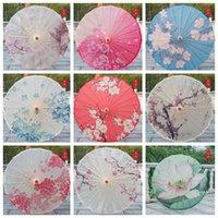 Yağmur geçirmez kağıt şemsiye Çin Geleneksel Zanaat Yağ Kağıdı Şemsiye Ahşap Saplı Düğün Şemsiye Sahne Performans Sahne FWE8675
