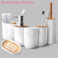 Bath Accessory Set Bamboo Bathroom Toothpaste Holder Gargle Cup 6pcs Toothbrush Wash Emulsion Dispenser Container Accessories