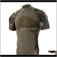 Roupas Engrenagem Gota entrega 2021 Homens Verão Ao Ar Livre Caminhada Camping Exército Tático Esporte Verde T-shirt Camuflagem Camuflagem T-shirts QyzyJ