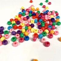 100 unids Accesorios de pulsera de bricolaje Niños Regalo Departamento de artesanía 15 Color 6mm Forma redonda Acrílico Azúcar Beads Hallazgos Joyas 1985 Q2