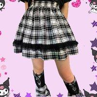 Skirts Black White Lace Korean Fashion Pleated Gothic Plaid Y2k Girl Mini Skirt Harajuku School Lady Empire Midi Japanses Cloth