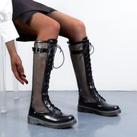 Boots Black Women's Round Toe Short And Long Booties For Women Summer Shoes Lace Up Mesh Office Lady Fashion Botas