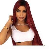 Kırmızı Renk İnsan Gerçek Saç Tam Dantel Peruk Ombre Renk Brezilyalı Düz Remy Saç Tam Dantel Peruk Doğal Saç Çizgisi Bebek Saçlar