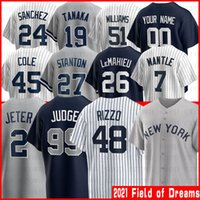 Nuevo 44 Anthony Rizzo York Jerseys de béisbol 99 Aaron Juez 2 Derek Jeter 45 Gerrit Cole 26 Lemahieu Hombres Mujeres 2021 Campo de sueños Jersey Bernie Williams