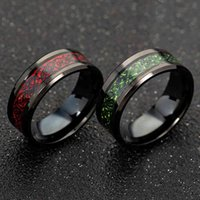 Band Stainless Steel Red Green Carbon Fiber Black Dragon Inlay Comfort Fit for Men Wedding Ring Fashion Jewelry