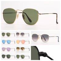 Gafas de sol de moda hexagonales para hombre para mujer gafas de sol Rayo mujer mansas gafas con estuche de cuero gratis, caja de astillas y minorista PACAKGE