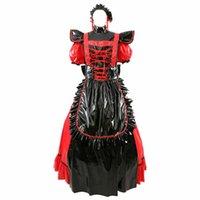 Sissy Maid PVC красное платье два способа носить косплей длинные или короткие рукава готический костюм дизайнер роскошь роскошь