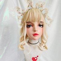 Máscaras de fiesta (Yi-04) Hembra dulce chica resina media cabeza kigurumi máscara con bjd ojos cosplay japonés rol de anime lolita crossdress muñeca