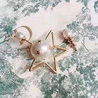 2021 Luxus Damen Stud Perle Fünfzeige Stern Unregelmäßige Ohrringe Feuerwerk Ohrwerke Kupfer Schmuck Zubehör Hohe Qualität Mode Geschenk für Mädchen mit Box