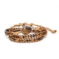 Tennis Real Leather Bracelet Unique Mixed Natural Stones Tiger Eye Stone Charm 3 Strands Wrap Bracelets Boho Gift Jewelry