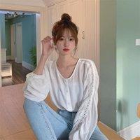 Female Korean Harajuku Super Fairy Hollow Sleeve Shirt Women's Shirts Ulzzang Japanese Kawaii Ladies Vintage Clothes For Women Blouses &