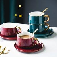 Креативный фарфор с блюдцем и ложкой керамическая керамическая кружка чашка чашка чашка набор алкогольный завтрак