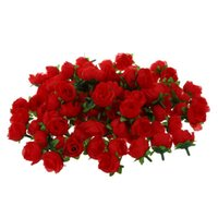 Artificial Flower Head Roses Deco Rosettes DIY Wedding Party Baptism RED Decorative Flowers & Wreaths