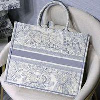 Famoso designer bordado saco de compras 3d padrão de tigre grande capacidade 41,5 cm luxo big-name bolsa artesanal flor dupla face flor