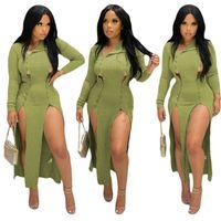Kadın Elbiseler Yüksek Bel Bölünmüş Uzun Etek Maxi Elbise Uzun Kollu Sonbahar Ve Kış Tasarımcıları Giysileri 2020 Işık Yeşil