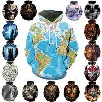 Капюшона моды стиль кику карта мира 3D свитер с капюшоном череп тигр цифровой печатный свитер мужской модный свитер идеально подходит для футболки