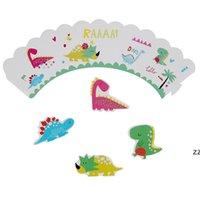 49pcs 공룡 테마 파티 식기 세트 종이 접시 컵 냅킨 배너 디노 해피 1 일 생일 파티 장식 어린이 소년 HWA6156