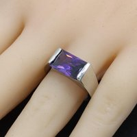 Wedding Rings Geometric Purple Cubic Zirconia 925 Sterling Silver Ring For Women Bridal Jewelry Christmas Gift