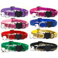 Cat Collars & Leads Pet Dog Necklace Safety Buckle Small Patch Cloth Bell Collar Puppy Adjusted Glitter Velvet