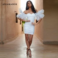 Robes décontractées Anjamanor Sexy Robe blanche Sexy Femmes à l'épaule Bouffle Mesh Sleeve Sleeve Bullcon Mini pour Wedding Party Club Wear D32-AE21