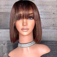 Parrucche di pizzo precipitate 360 capelli umani frontali con bambino 180DENSIENZA BREVE Bob Chocolate Brown Brown anteriore remy per le donne