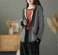 Women's Jackets Women 2021 Autumn Casual Loose Retro Panelled Coat Tops Ladies Hooded Zipper Pocket All-match