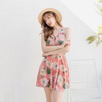 Verão Plus Size Mulher Swimsuit Estilo Coreano Halter Backless Praia Floral Vestido + Shorts Twinset Sexy Women's Natação Swimwear