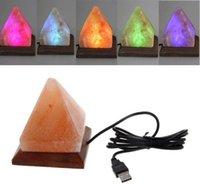 LED juguetes salina lámpara mesa escritorio luz de noche pirámide cristal roca dormitorio de madera dormitorio adorno casa habitación decoración artesanía adornos regalo Myy