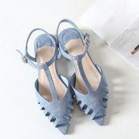 Boussac corta las sandalias planas para las mujeres puntiagudas de la playa Sandalias de la playa de las mujeres suaves sólidas zapatos de verano SWA0097 U4PM #