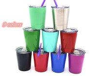 أكواب 9 أوقية كأس الأطفال diy يمكن التسامي الفولاذ المقاوم للصدأ بهلوان السفر المحمولة القدح مع القش البلاستيك للهدايا