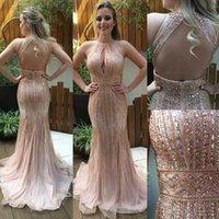 Luxurious Mermaid Evening Dresses Major Beading Halter keyhole Neck Formal Celebrity Vestido de festa Formal Prom Gowns