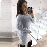Повседневные платья Зубиние женские плюшевые корпусные платья круглые шеи с длинным рукавом серый осень зима оболочка офисная леди сплошной MIDI Pullovers
