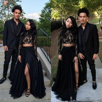 2022 Two Piece Prom Dresses A Line Tulle Long Sleeve Evening Party Gowns With Beading