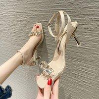 Sandals Women Shoes Rhinestone 2021 Ladies Stiletto Rubber Sole Non-slip High Heels Women's Fashion