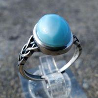 925 Ayar Gümüş Toptan Antik 6x8mm Oval Şekil Mavi Doğal Larimar Yüzükler Angajent için 210524