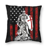 Knight Templar - Crusader Krieger Amerikanische Flagge Square Kissenbezug Polyester Kissen Für Sofa Vintage Kissenbezug Kissen / dekorativ