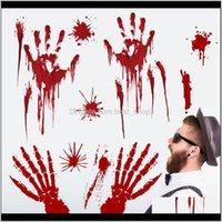 Другие праздничные принадлежности Главная Сад Drop Доставка 2021 Кровавый Отпечаток Пешеходные Наклейки Наклейка Окно Наклейка Наклейка Пол цепляется на Хэллоуин Party H