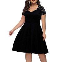 Nuovo 2020 Summer Plus Dresses Sexy V-Neck Lace Vestido Largo Big Size Scava fuori cerniera a manica corta Slim Bigge-Size Dress