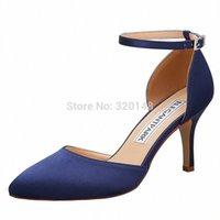 Mujeres altas tacón puntiagudo bombas de punta fiesta de novia zapatos de boda de satén tobillo correa de honor damas zapatos HC1811NW negro azul marino R2EC #