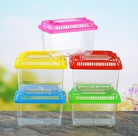 Little Pet Rabbit House Mini Clear Hamster Cage Cute Transparent Plastic Goldfish Turtle Bowl With Portable Handle Many Colors FWA5530