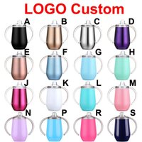 Free LOGO Custom 16 Colors 10oz Handle Tumbler sippy Bottle kids tumblers for children vacuum insulated milk cups double wall stainless steel baby bottles 028