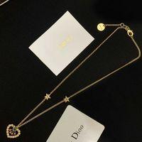 D family letter love necklace female Dijia net red temperament female Pearl Earrings brass Bracelet