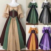 Mittelalterliche Kontrastnähte Fly Hülse Lace Up Taille Swing Ein Schulterkleid