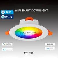 Downlights Juss Fort Wifi Inteligente Downlight 10W Tuya Aplicación Control remoto RGBWC ABIENDO Color Resaltando Foco