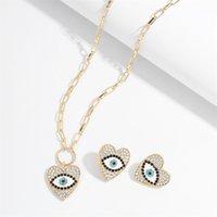 Anjo high-end olho pingente colares brincos Definir simples retrô diamante clavícula cadeia liga strass brinco francês 499 Z2