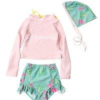 فتاة قطعتين البدلة ملابس السباحة الأطفال طويلة الأكمام بحر 2-10 سنة طفل لطيف ملابس زائد حجم الطفل 210728
